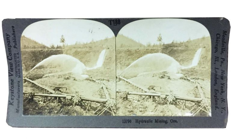 HYDRAULIC MINING, ORE. 13795. Stereoview Photograph, Keystone View Company - Publishers.