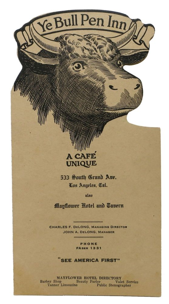 YE BULL PEN INN.; A Cafe Unique. Restaurant Menu - Los Angeles.