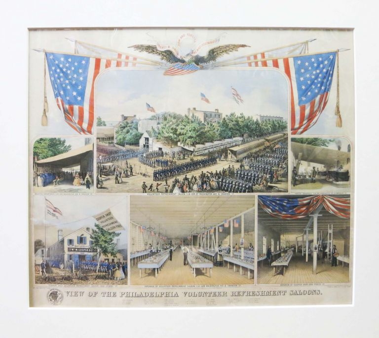 VIEW Of The PHILADELPHIA VOLUNTEER REFRESHMENT SALOONS. Colored Llithographic Print.
