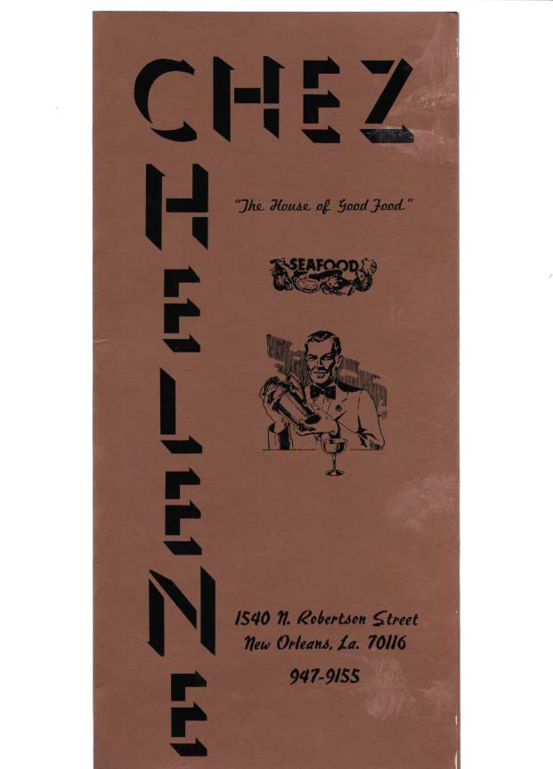 "CHEZ HELENE.; The House of Good Food"" Restaurant Menu - New Orleans."
