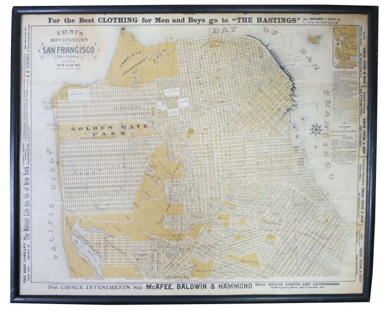 FAUST'S MAP Of CITY And COUNTY Of SAN FRANCISCO CALIFORNIA. San Francisco / California History, Henry W. - Publisher Faust.