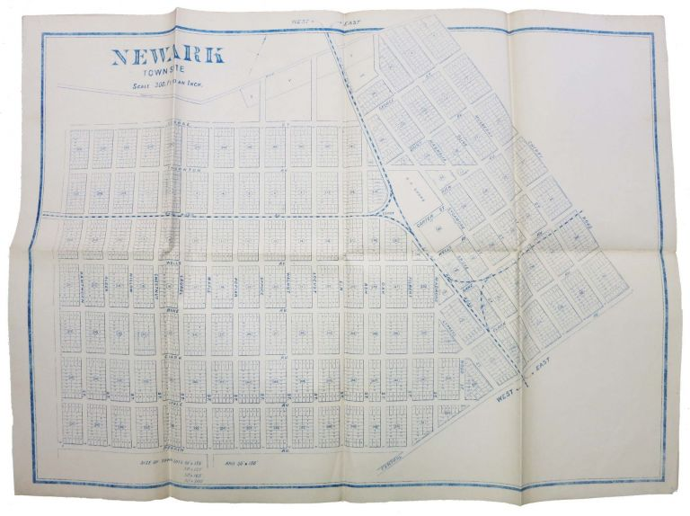 NEWARK TOWN SITE.; Scale: 300 Feet to an Inch. 19th C. San Francisco Bay Area Map.
