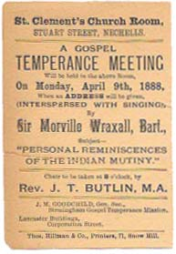 A GOSPEL TEMPERANCE MEETING.; St. Clement's Church Room, Stuart Street, Nechells. Temperance.