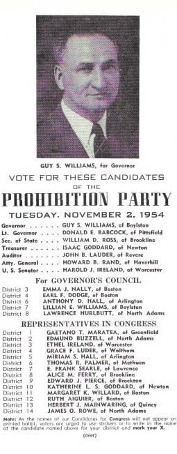 VOTE For THESE CANDIDATES Of The PROHIBITION PARTY.; Tuesday, November 2, 1954. Temperance - Prohibition Party Ticket.