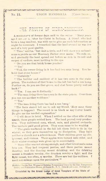 The FRUITS Of CIDER-DRINKING.; Union Handbills -[Cider Series] - No. 13. Temperance.