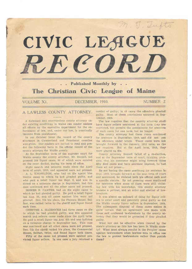CIVIC LEAGUE RECORD.; Published Monthly by The Christian League of Maine. Volume XI Number 2. Temperance.