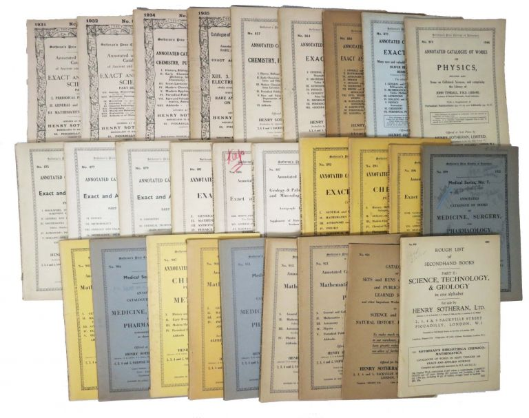 "SOTHERAN'S PRICE CURRENT Of LITERATURE. LOT Of 28 ""ANNOTATED And CLASSIFIED"" CATALOGUES, 1931 - 1962.; Science, Medicine, Chemistry, Etc. Antiquarian Bookselling Trade History."