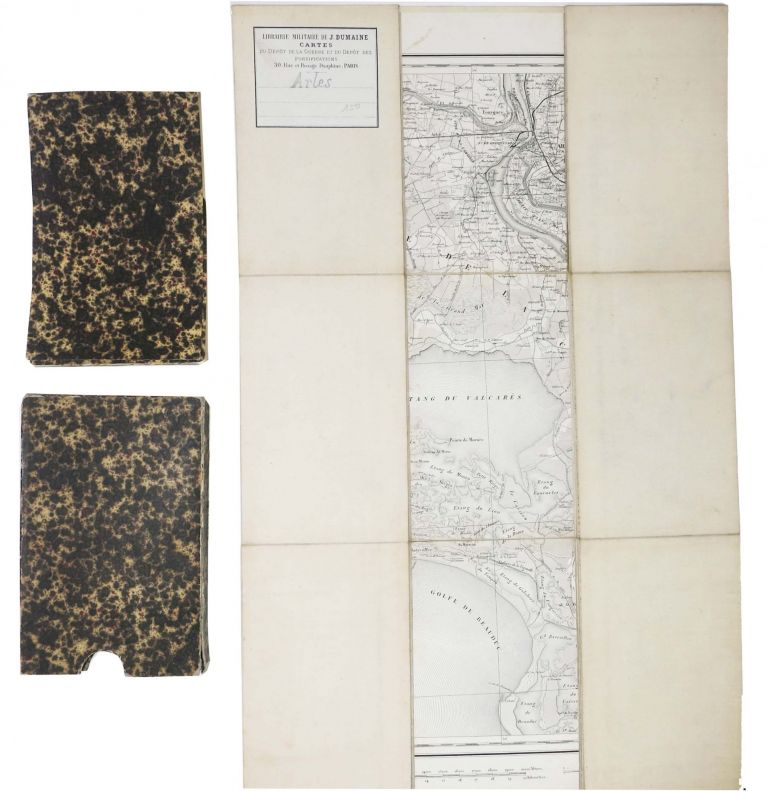 ARLES. And Surrounding Environs. 19th C. Folding Line-Backed Map.