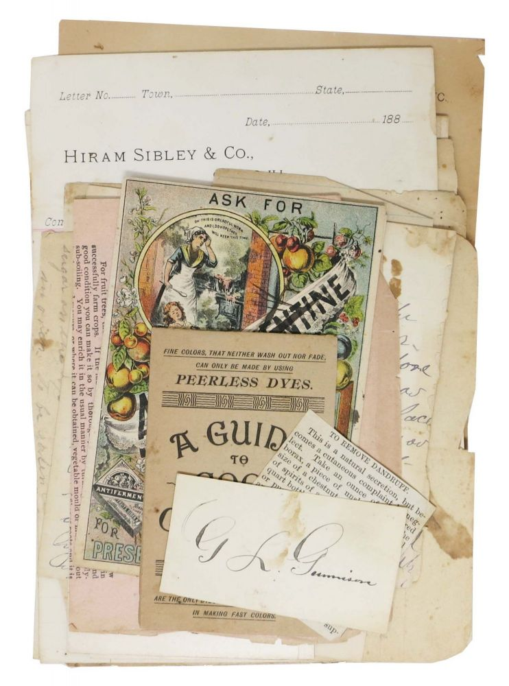 COLLECTION Of NEWSPAPER CLIPPINGS, HAND WRITTEN NOTES And SMALL PAMPHLETS RELATING To COOKING, GARDENING and HOUSEHOLD CHORES. Anonymous.