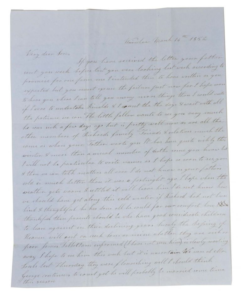 """AUTOGRAPH LETTER[S], Signed.; To her """"Very Dear Son"""" [Lathrop C Keith] & """"Miss Marcy"""" Winslow March 14th 1852. California Gold Rush Impact, Ann Keith."""