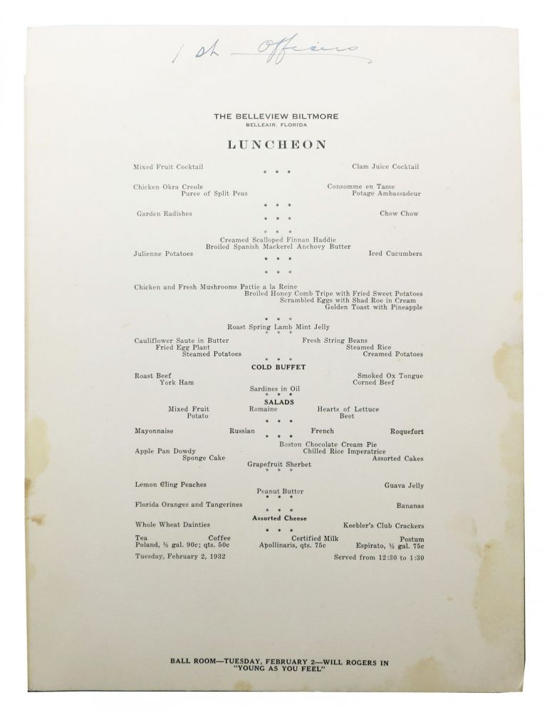The BELLEVIEW BILTMORE.; Luncheon. FL Restaurant Menu - Belleair.