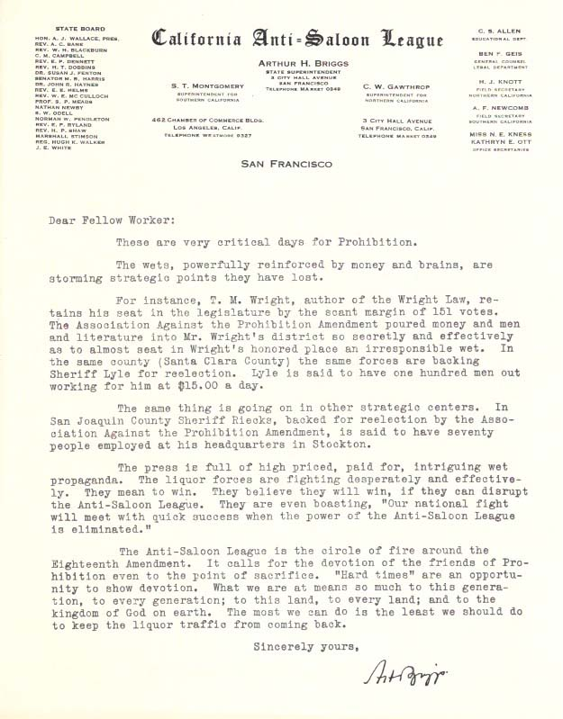 "TWO TYPED LETTERS, ONE On CALIFORNIA ANTI-SALOON LEAGUE LETTERHEAD.; ""These Are Very Critical Days For Prohibition."" Arthur H. Briggs, Prohibition."