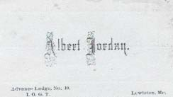 ALBERT JORDAN.; Advance Lodge, No. 10. I.O.G.T. Business Card - Temperance.