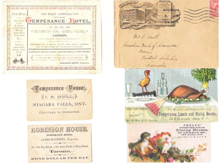 LOT Of FIVE ADVERTISING CARDS And ONE ENVELOPE For TEMPERANCE HOTELS And RESTAURANTS.; Phelps' Temperance Dining Rooms - Temperance Lunch and Dining Rooms - West Central Temperance Hotel - Robinson House: Temperance Hotel - Temperance Hotel: J. B. Hull - Shaftesbury Family & Commercial Temperance Hotel. Temperance.