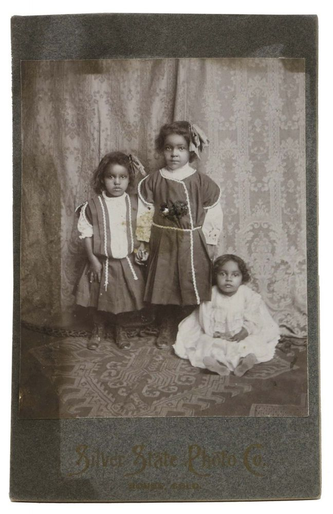 CABINET CARD PHOTOGRAPH Of THREE YOUNG GIRLS, Presumed Native American. Colorado History.