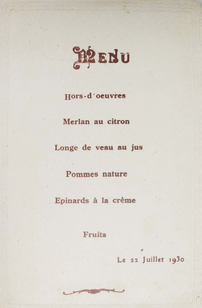 MENU.; Le 22 Juillet 1930. French Menu.