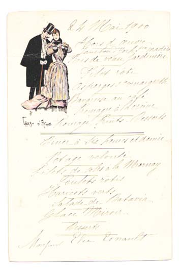 24 MAI 1900. French Restaurant Menu.