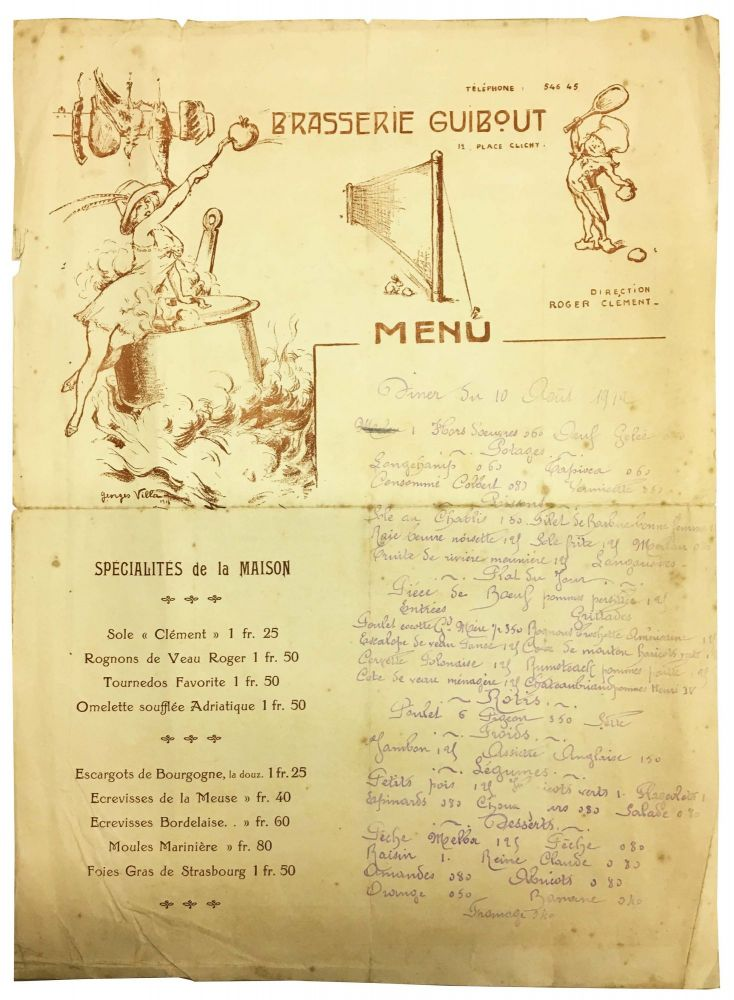 BRASSERIE GUIBOUT.; Menu. French Menu.