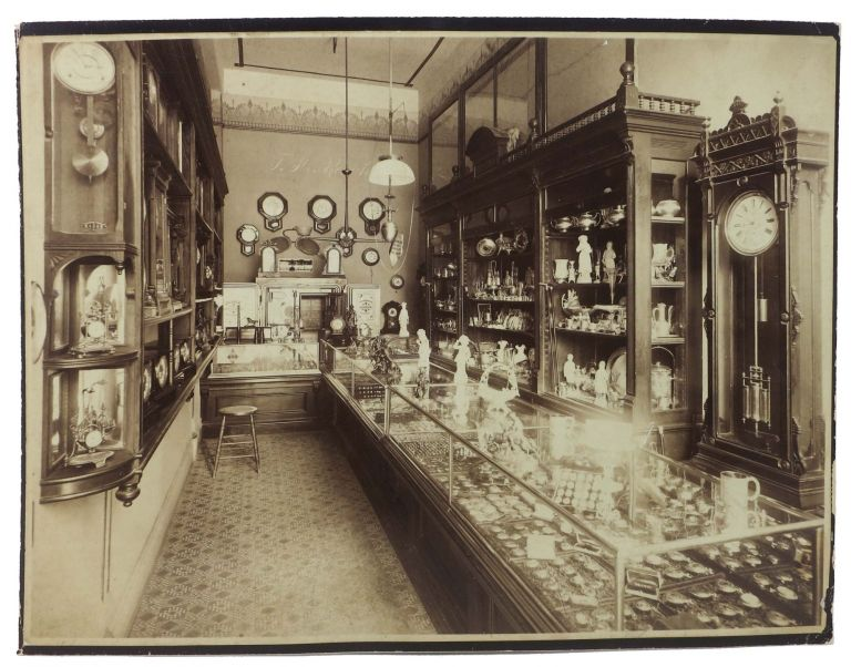 "INTERIOR VIEW - F. M. REICH JEWELRY STORE.; ""The FAIR 226 S. SPRING L.A."" [penciled verso annotation]. Los Angeles Local History."