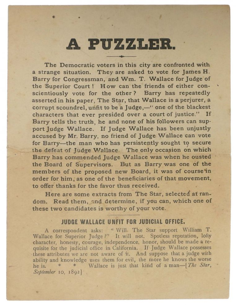 A PUZZLER. California History, William Thompson Wallace, James - Subject Barry, 1828 - 1909, enry. 1855 - 1927.