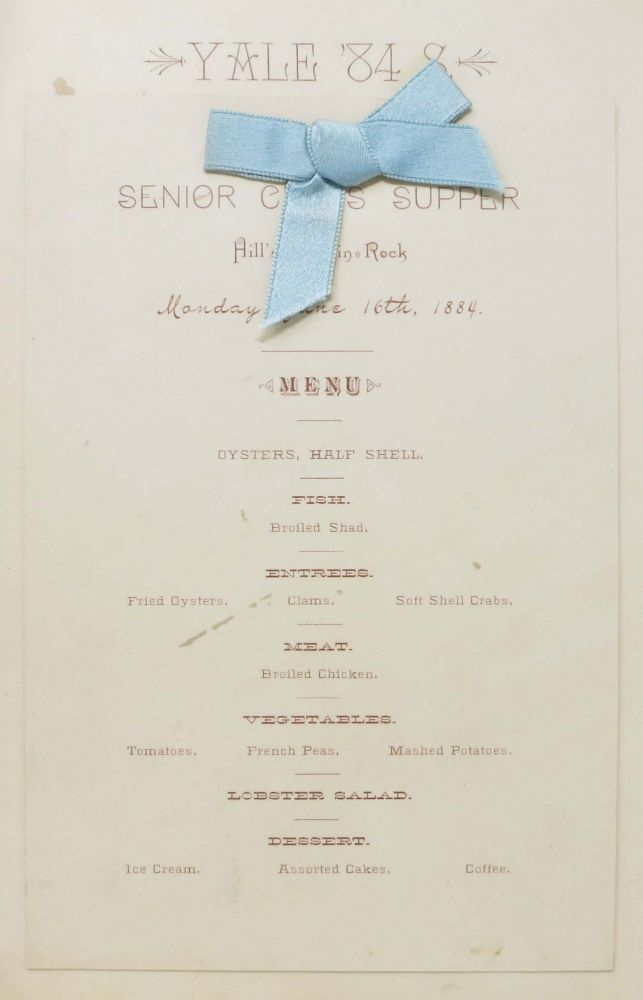 YALE '84 S SENIOR CLASS SUPPER Menu & Program. Monday, June 16th, 1884. Yale Ephemera / Dinner Menu.