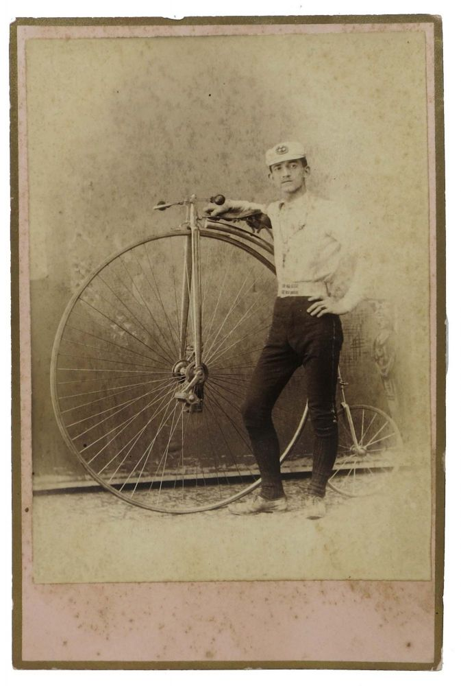 "CABINET CARD PHOTOGRAPH. Cyclist in Racing Attire with a ""Penny Farthing"" Bicycle. Cycling History."