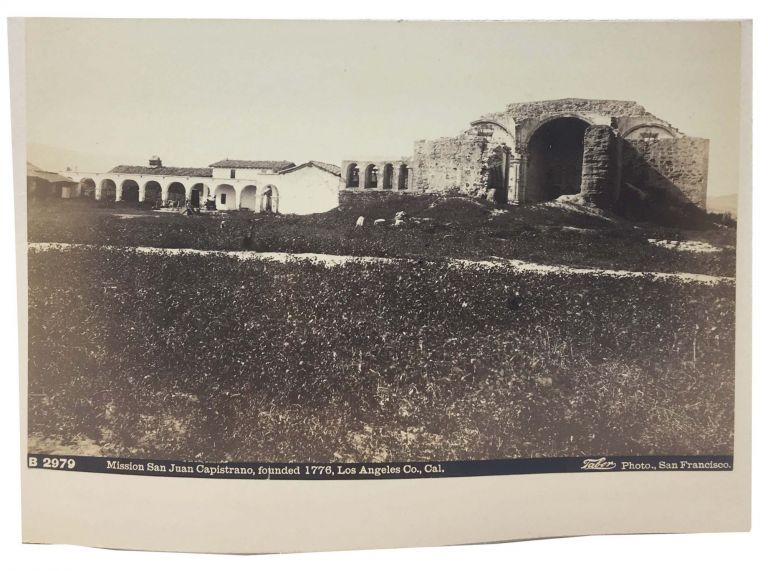 CABINET CARD PHOTOGRAPH. Mission San Juan Capistrano, founded 1776, Los Angeles Co., Cal. B 2979. [with] Close Up View of Abandoned Mission Adobe Building. Isaiah West Taber, 1830 - 1912.