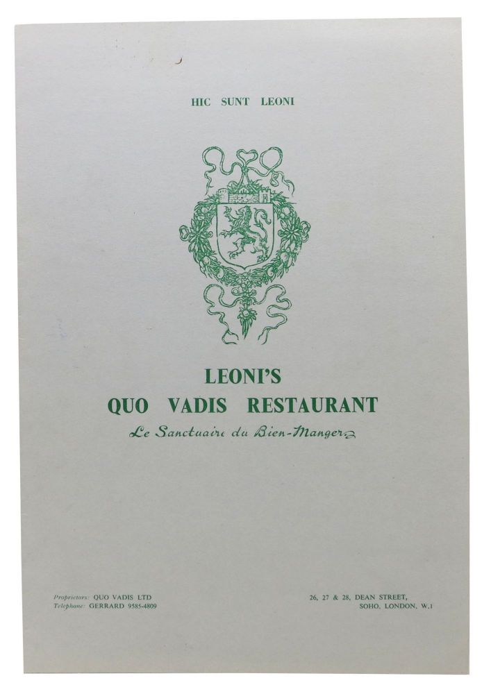 LEONI'S QUO VADIS RESTAURANT. Restaurant Menu - London.