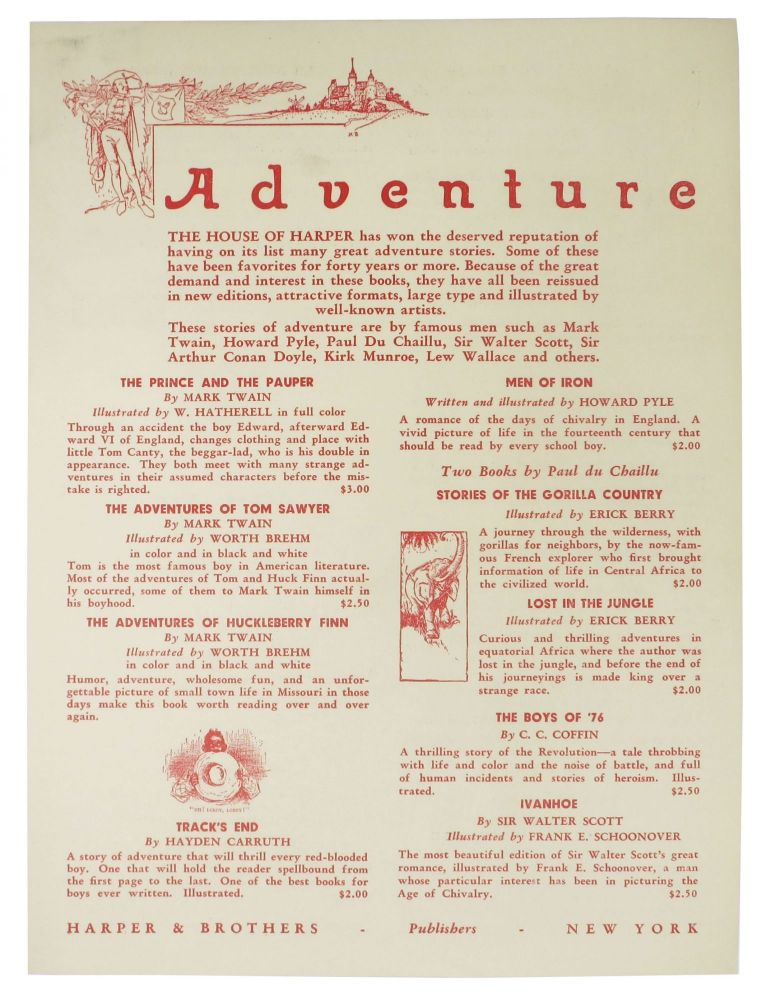 ADVENTURE. Publisher Advert Sheet / Order Blank.