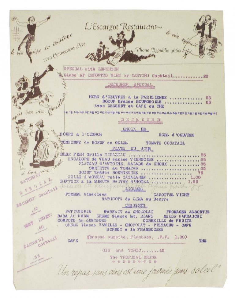 L'ESCARGOT RESTAURANT.; 1120 Connecticut Ave. - Phone Republic 9660. French Restaurant Menu -, Washington D. C. ?