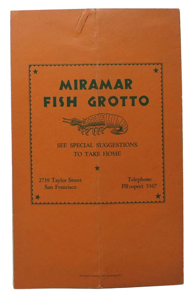 MIRAMAR FISH GROTTO.; See Special Suggestions To Take Home. Restaurant Menu - San Francisco.