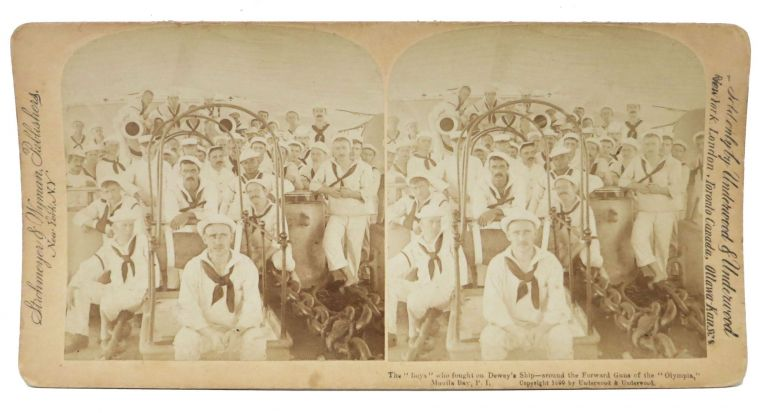 "The ""BOYS"" Who Fought on Dewey's Ship - around the Forward Guns of the ""Olympia"", Manila Bay, P.I. Stereoview Photograph, Spanish American War."