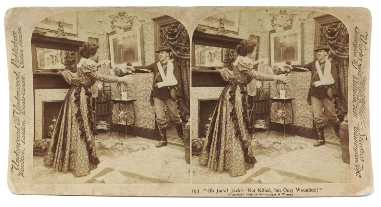 """Oh Jack! Jack! -- Not Killed, but Only Wounded!"" (5). Stereoview Photograph, Spanish American War."