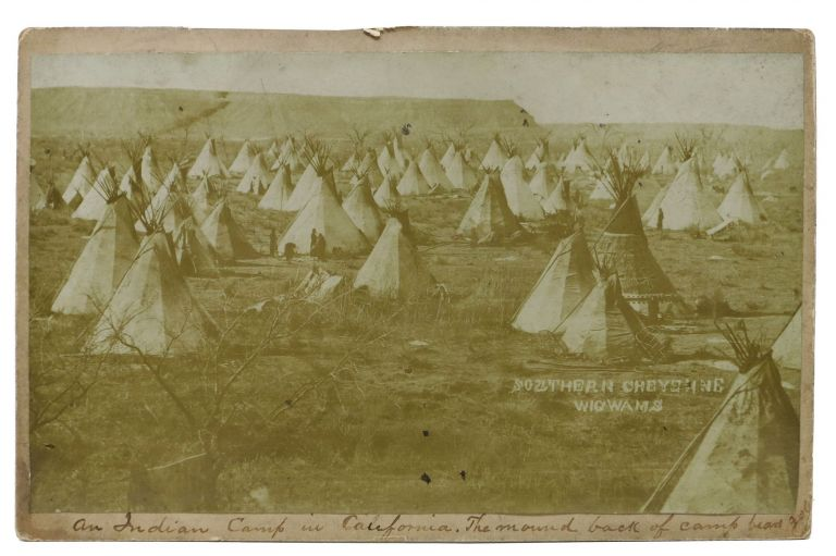 "CABINET CARD ALBUMEN PHOTOGRAPH. NORTHERN CHEYENNE WIGWAMS.; ""An Indian Camp in California. The mound back of camp bears got"" [mss annotation, in an early hand, under image]. California History."