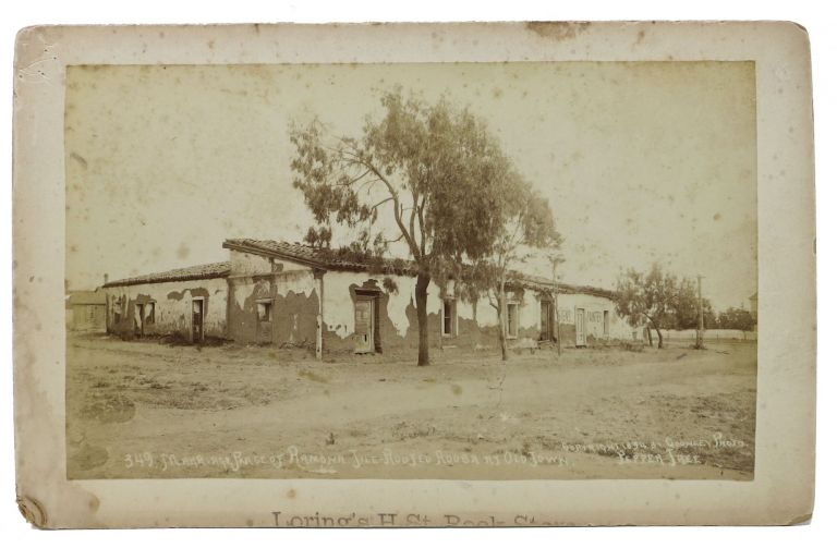 CABINET CARD ALBUMEN PHOTOGRAPH. 349. Marriage Place of Ramona Tile - Roofed Adoda at Old Town. California /San Diego History, Helen Hunt - Creator of Ramona Jackson.