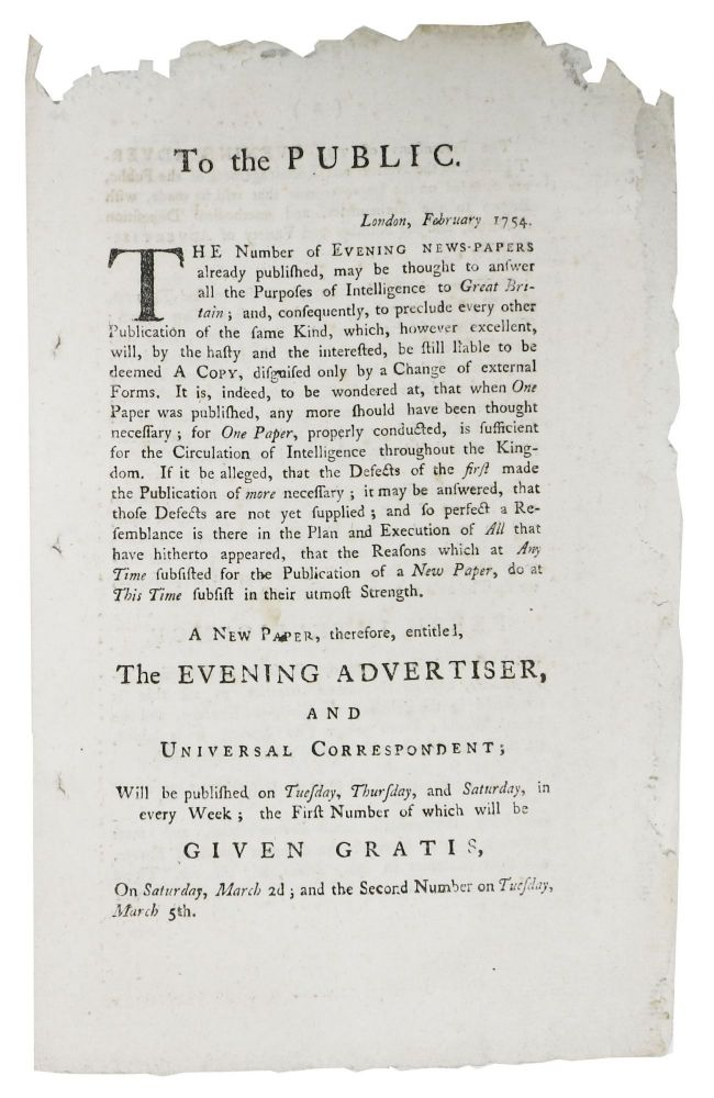 A NEW PAPER, Therefore, Entitled, The EVENING ADVERTISER, And UNIVERSAL CORRESPONDENT. Newspaper Prospectus, J. - Publisher Payne.
