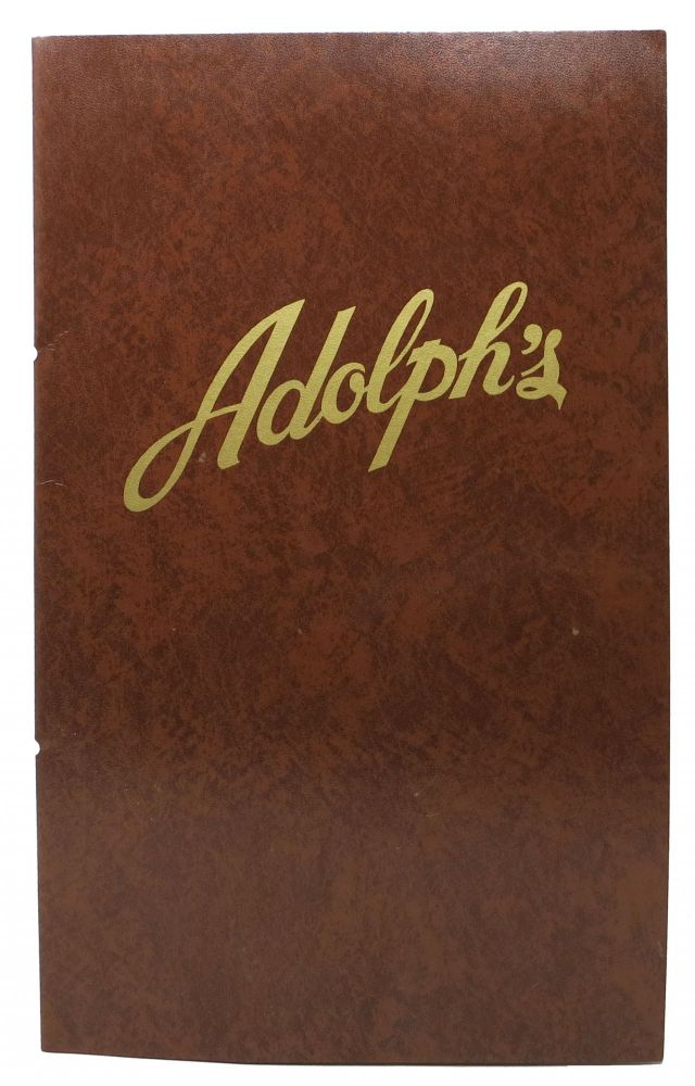 ADOLPH'S. Restaurant Menu - San Francisco.