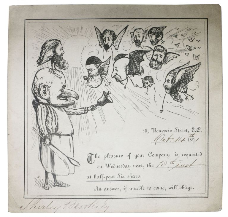 PUNCH MAGAZINE STAFF DINNER INVITATION TICKET for Wednesday, October 18, 1871. Shirley - Invitee. Burnand Brooks, Charles, Tom . Keene, Horace . Taylor, George - Artist. Mayhew, John . Du Maurier, Percival . Tenniel, . . Leigh, 1816 - 1874, rancis, owley. 1836 - 1917, 1813 - 1889, 1820 - 1914, 1834 - 1896, 1816 - 1872, 1817 - 1880, 1823 - 1891.