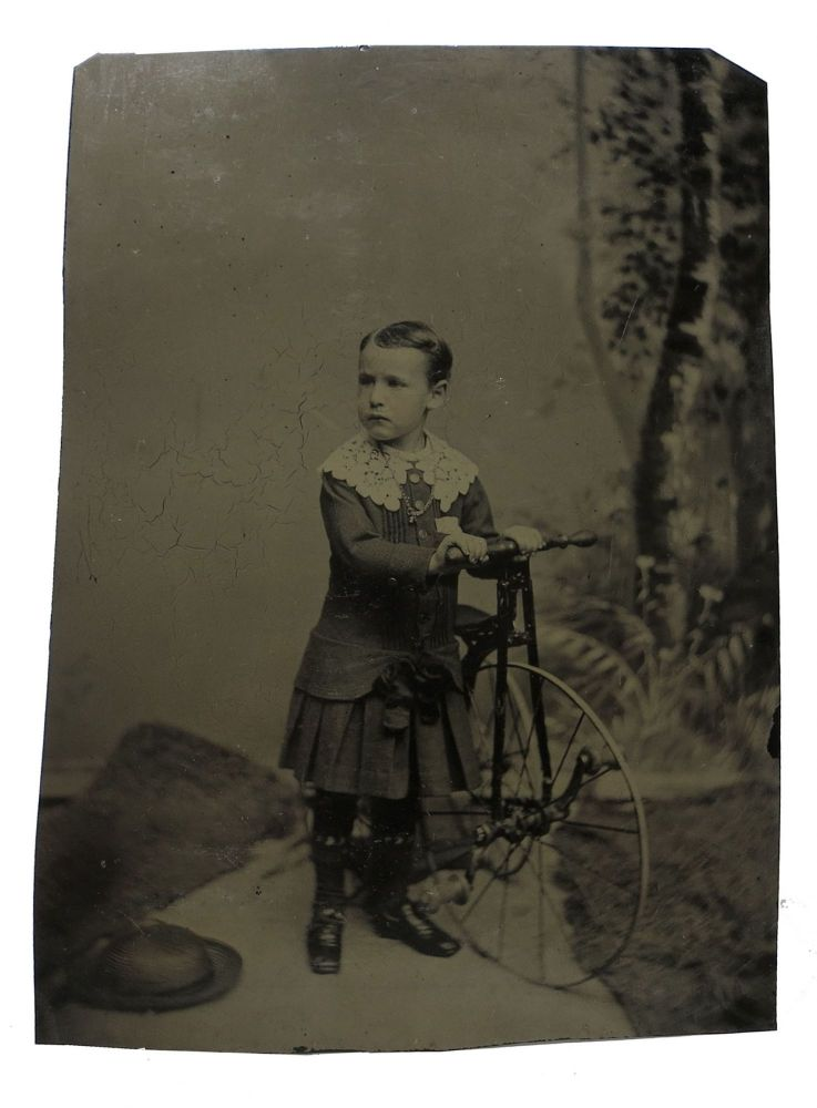 LARGE TINTYPE PHOTOGRAPH Of YOUNG BOY POSING With HIS BICYCLE. Bicycle History.