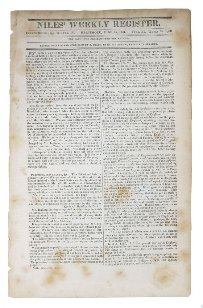 AFFAIRS Of The CHEROKEES. From the Cherokee Phoenix of May 28, 1831 [as published in] The Niles Weekly Register. Fourth Series. No. 17. Vol. IV. Vol XL - Whole No. 1,031. June 25, 1831. Native American History, - Niles, ezekiah.