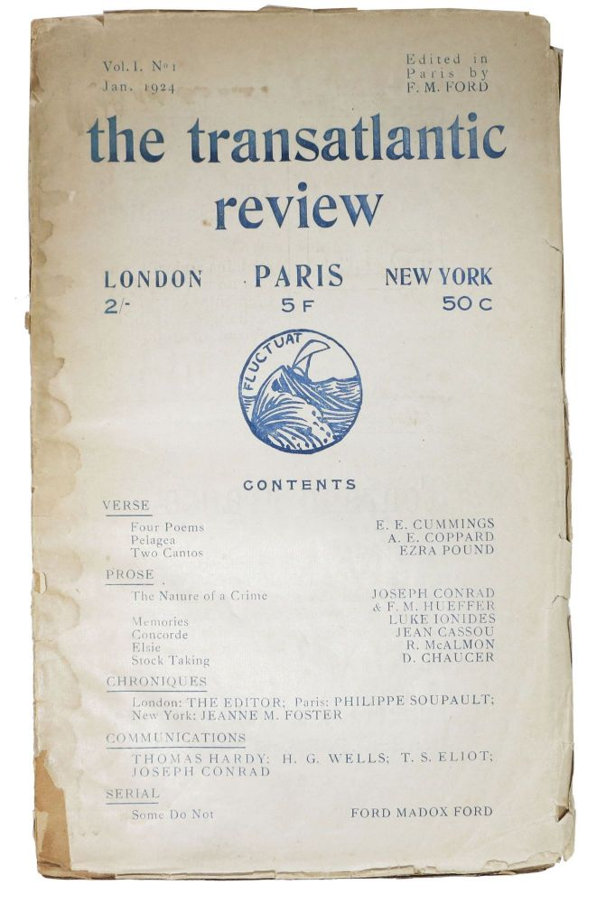 The TRANSATLANTIC REVIEW. Paris. Vol. 1 No. 1 Jan. 1924. . . - Ford, E. E. Cummings, A. E. Coppard, Ezra Pound, Joseph Conrad, F. M. Hueffer, Luke Ionides, Jean Cassou, R. McAlmon, D. Chaucer, H. G. Wells, T. S. Eliot, ord, adox.