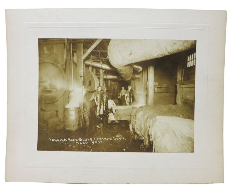 ARCHIVE Of 12 ALBUMEN PHOTOGRAPHS DEPICTING KARG BROS. TANNERY OPERATIONS. History of Tannery / Glovery Business.