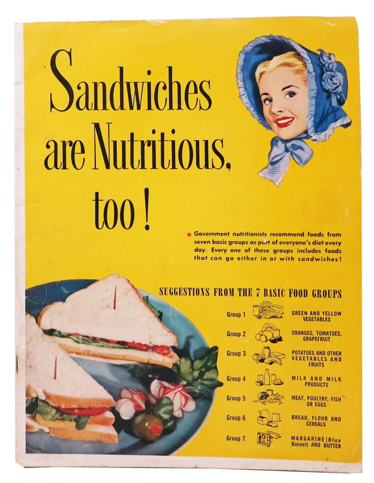 "SANDWICHES ARE NUTRITIOUS TOO! [Cover title]; Good Housekeeping's Sandwich Manual. Booklet P-3917. Cookery Book, ""Blue Bonnet Sue"""