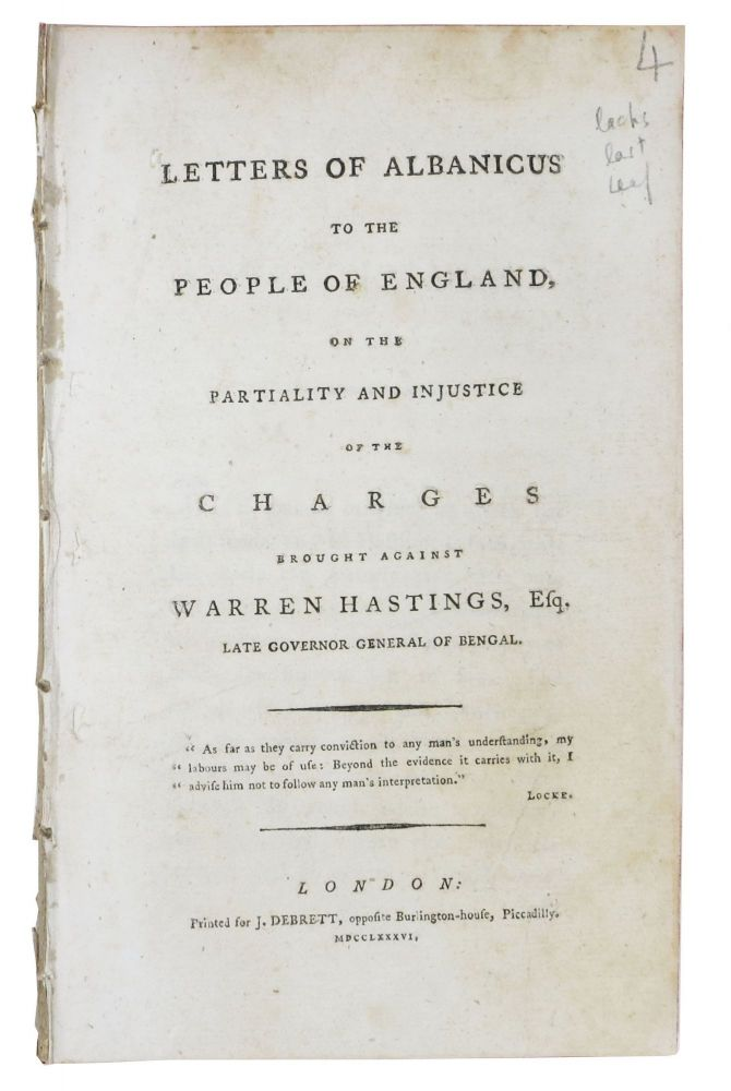 LETTERS Of ALBANICUS To The PEOPLE Of ENGLAND, on the Partiality and Injustice of the Charges Brought Against Warren Hastings, Esq., Late Governor General of Bengal. David Stewart Erskine Buchan, Warren - Subject, Earl of - Attributed to. Hastings, 1742 - 1829, 1732 - 1818.