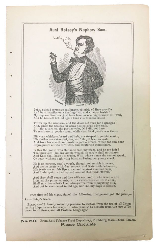 AUNT BETSEY'S NEPHEW SAM. No. 80.; [with] The TOBACCO ANTIDOTE. George Trask, 1798 - 1875.