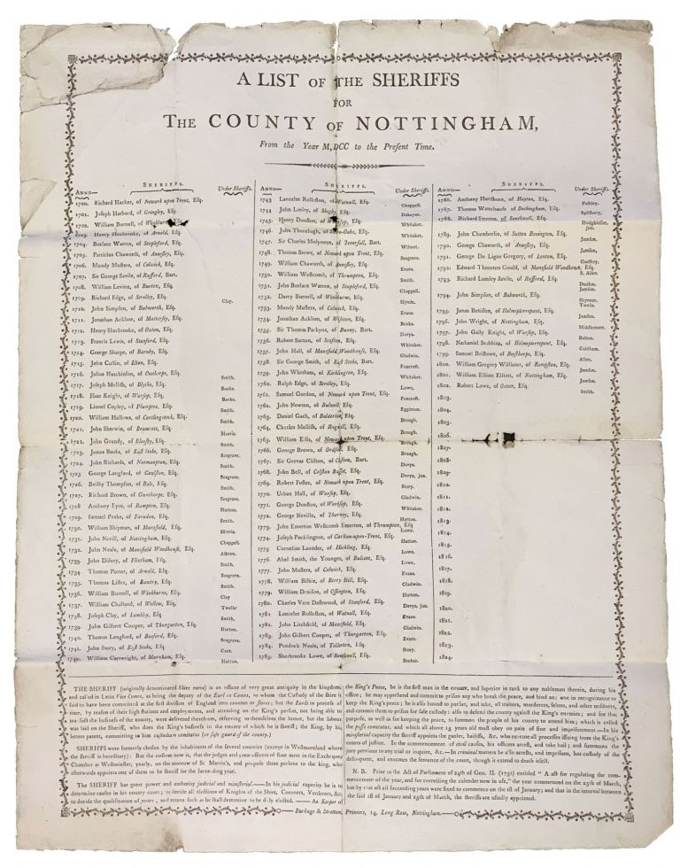 A LIST Of The SHERIFFS For The COUNTY Of NOTTINGHAM; From the Year M, DCC to the Present Time. Nottingham Local History.
