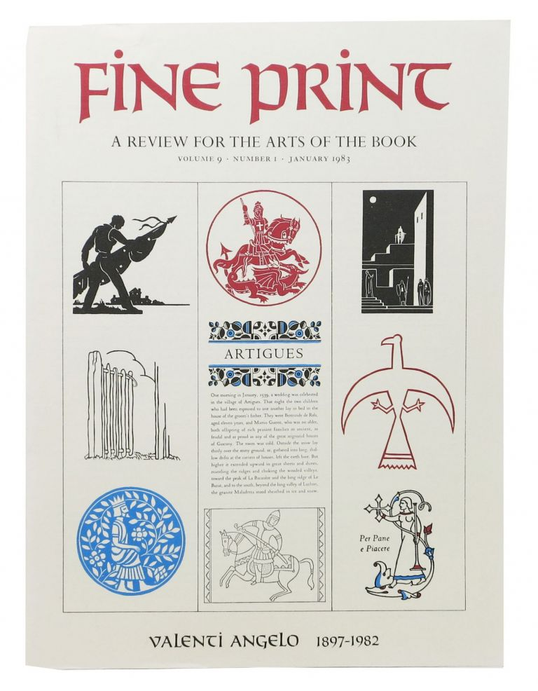 FINE PRINT. Vol. 9 No. 1 January 1983.; A Review for the Arts of the Book. Magazine.