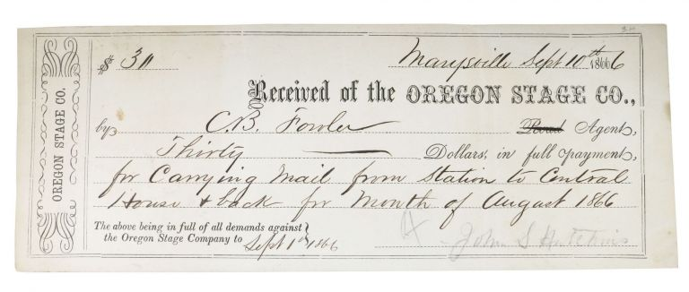 PAY RECIEPT. Sept. 10th 1866. 19th C. California Ephemera, C. B. - Recipient Fowler.