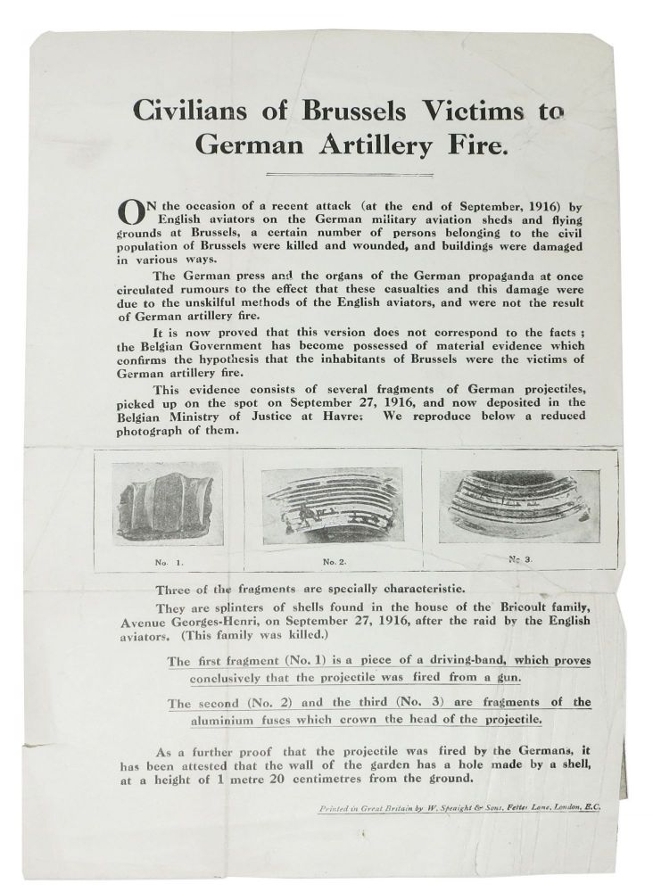 CIVILIANS Of BRUSSELS VICTIMS To GERMAN ARTILLERY FIRE. WWI Leaflet.