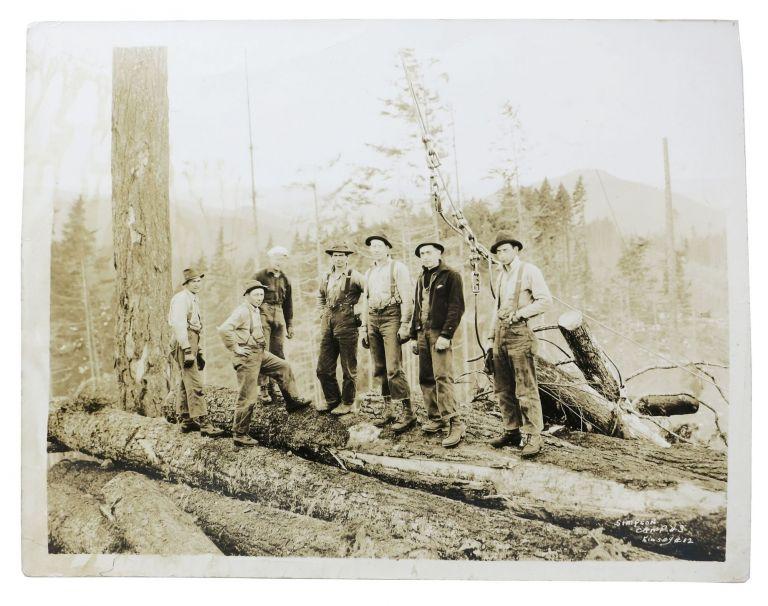 CACHE Of NINE LARGE-FORMAT PHOTOGRAPHS DEPICTING The LUMBERING INDUSTRY In The PACIFIC NORTHWEST. Clark Kinsey, 1877 - 1956.